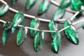 Emerald Green Quartz Carved Long Pear Leaf Shaped Briolettes, 20 x 8 mm, 1 pair