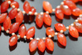 Carnelian Faceted Dew Drop Briolettes