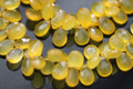 Yellow Chalcedony Faceted Pear Briolettes