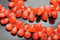 Orange Carnelian Faceted Pear Briolettes