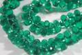 Emerald Green Quartz Faceted Tear Drop Briolettes, 10 - 11 mm