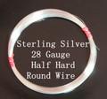 28 Gauge Sterling Silver Half Hard Round Wire