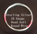 16 Gauge Sterling Silver Dead Soft Round Wire