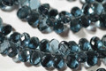 London Blue Quartz Faceted Pear Briolettes, 13 - 14 mm