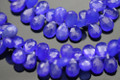 Deep Blue Chalcedony Faceted Pear Briolettes