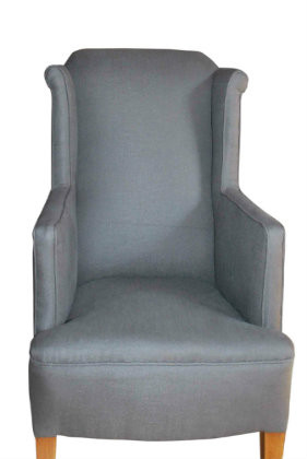Edwardian wing back chair in dove grey cotton