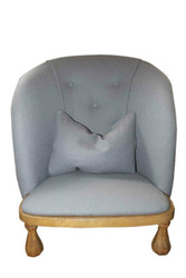 Buttoned-back nursing chair in duck egg blue wool