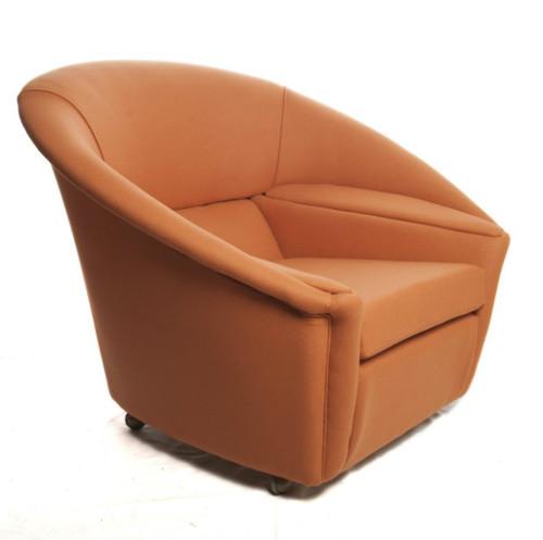 Cool 1960s pod capsule chair in tangerine wool