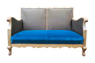 Wooden framed club two-seater sofa in teal velvet
