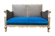 Wooden framed club two-seater sofa in teal velvet