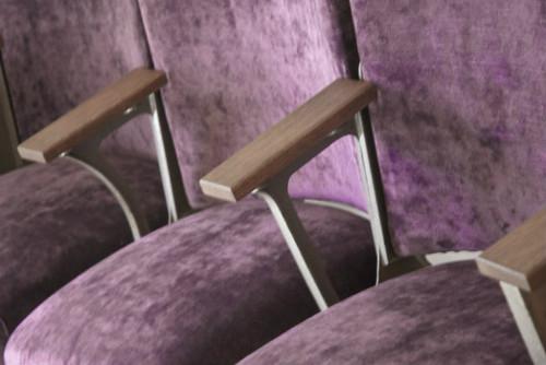 Monroe Avenue ornate original cast iron cinema seats in purple velvet