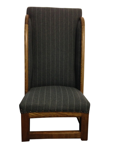 High backed, low seat chair in grey & white pinstripe wool