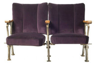 Monroe Avenue Two-seater cinema seats in fluted aubergine velvet