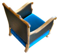 Wooden framed club chair in teal velvet (two available)