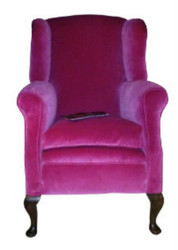 Pre-WW1 wing chair in bubble gum pink velvet