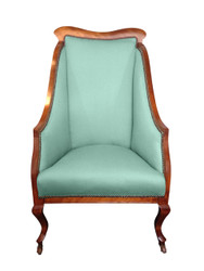 Monroe Avenue unusual, winged seat in duck-egg blue linen