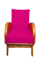 Art Deco Lounge chairs in electric pink wool (Pair)
