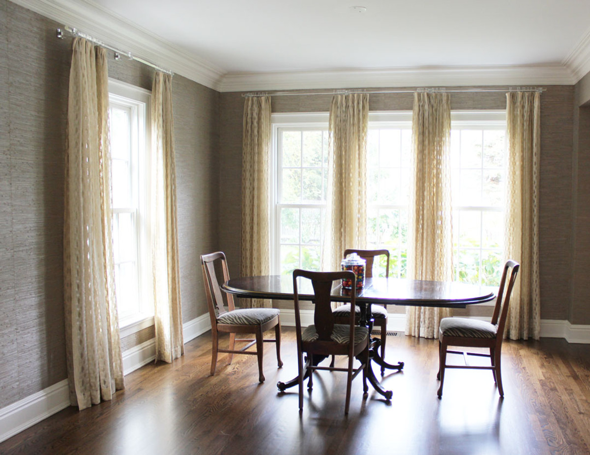 Custom Drapes By Lynn Chalk In Isis Ombre Creme Stripe Was Used Vertically