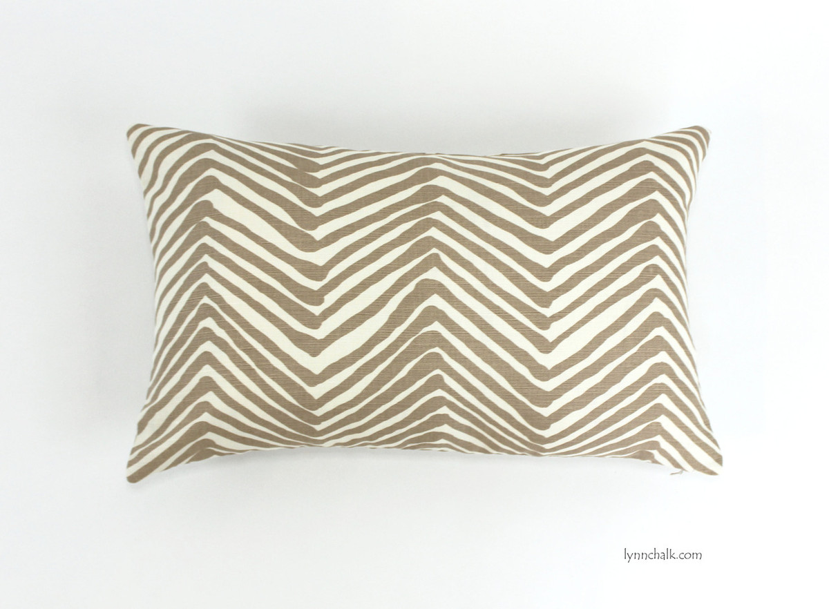 quadrille alan campbell zig zag pillow in taupe -  pillow in zig zag in taupe ( x )