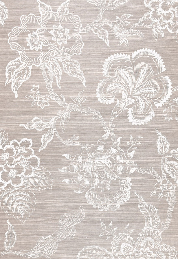 Celerie Kemble for Schumacher Hothouse Flowers Sisal Haze & Chalk Wallpaper