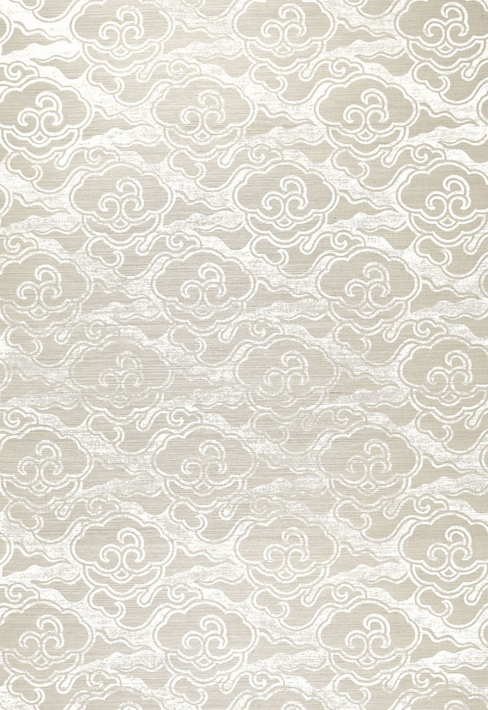 Celerie Kemble for Schumacher Cirrus Clouds Fog & Chalk Wallpaper