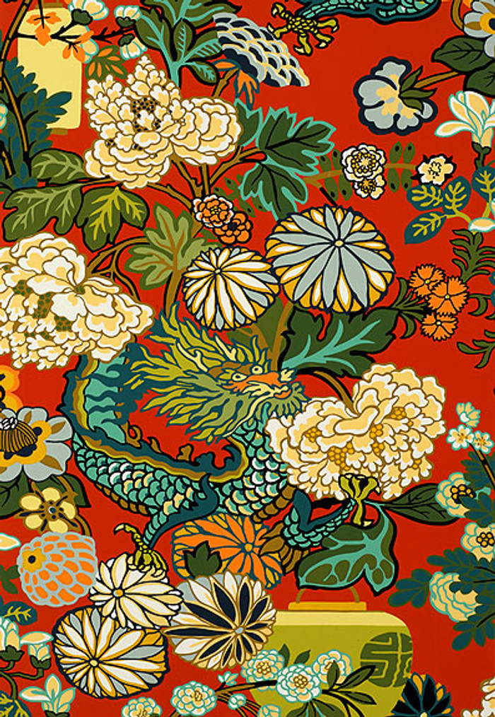 Schumacher Chiang Mai Dragon Lacquer Wallpaper 5001061