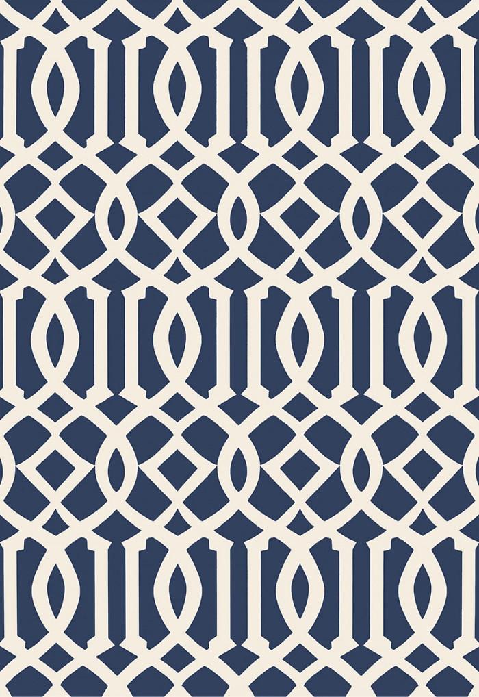Schumacher Kelly Wearstler Imperial Trellis II Ivory/Navy Wallpaper