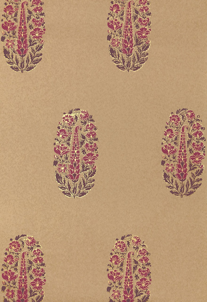 Schumacher Askandra Flower Aubergine Wallpaper