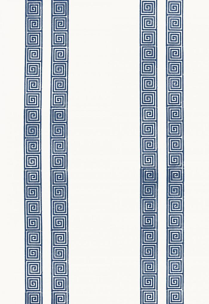 Schumacher Greek Key Stripe Wallpaper Navy