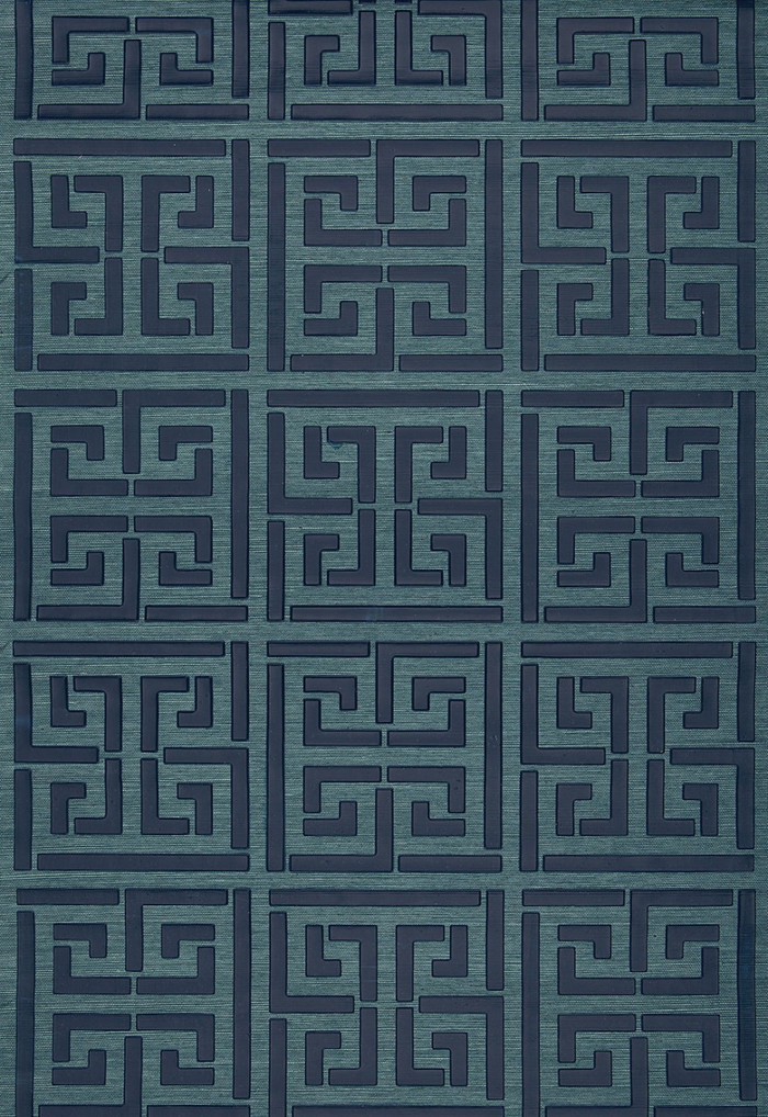 Schumacher Greek Key Sisal Wallpaper Peacock