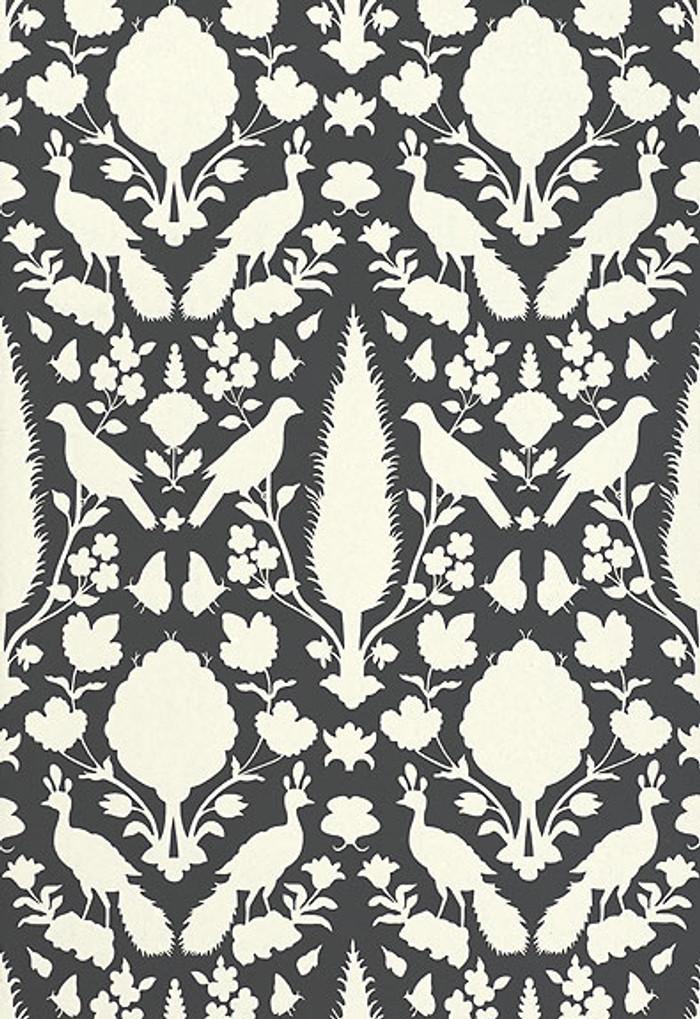 Schumacher Chenonceau Wallpaper Charcoal