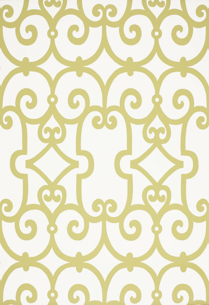 Schumacher Manor Gate Wallpaper Aloe