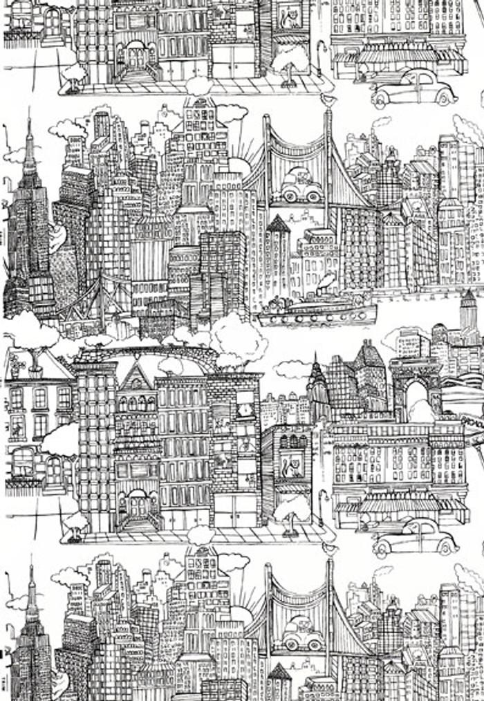 Schumacher New York,  New York Wallpaper Black on White