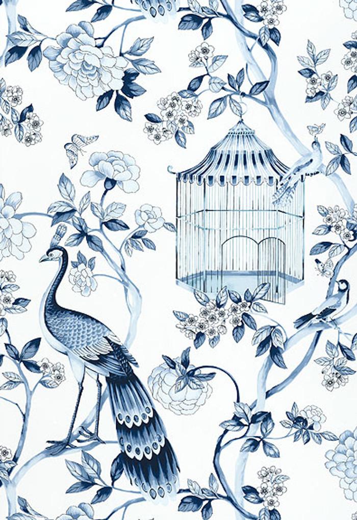 Schumacher Wallpaper Oiseaux et Fleurs Porcelain