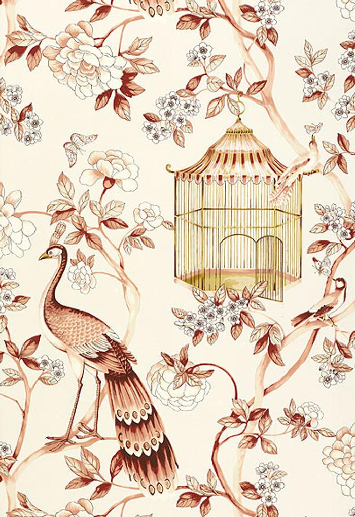 Schumacher Wallpaper Oiseaux et Fleurs Cinnabar