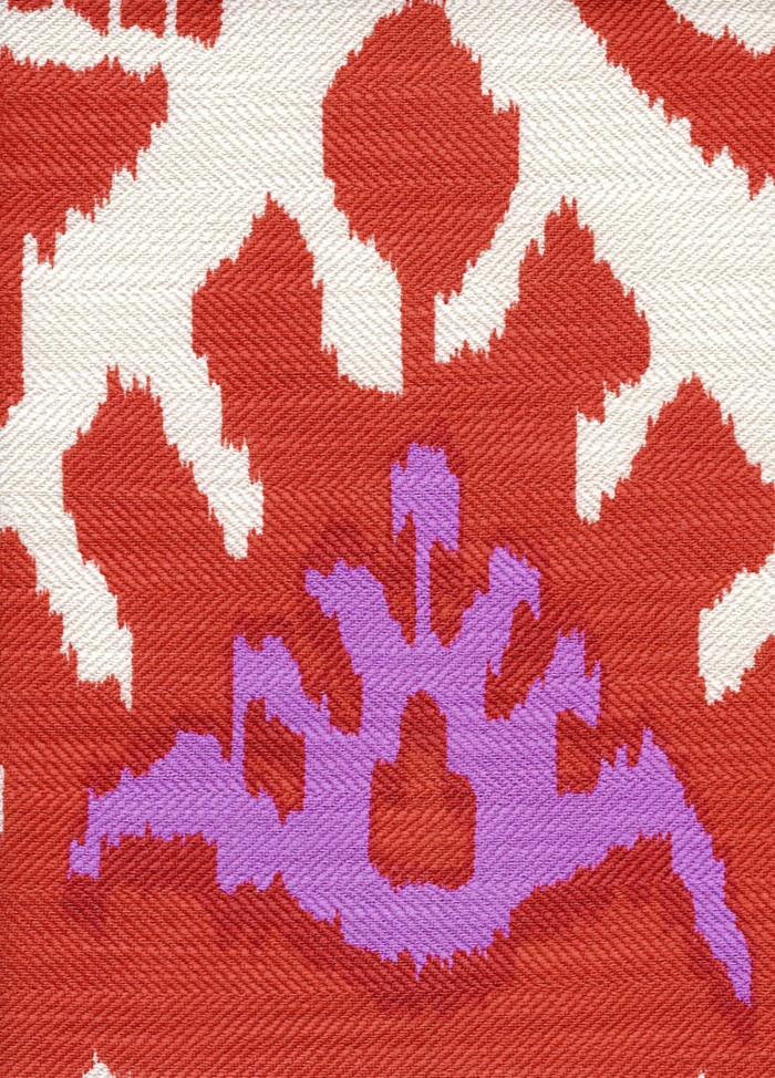 Quadrille Kazak Orange Pink on Suncloth (Indoor/Outdoor fabric)