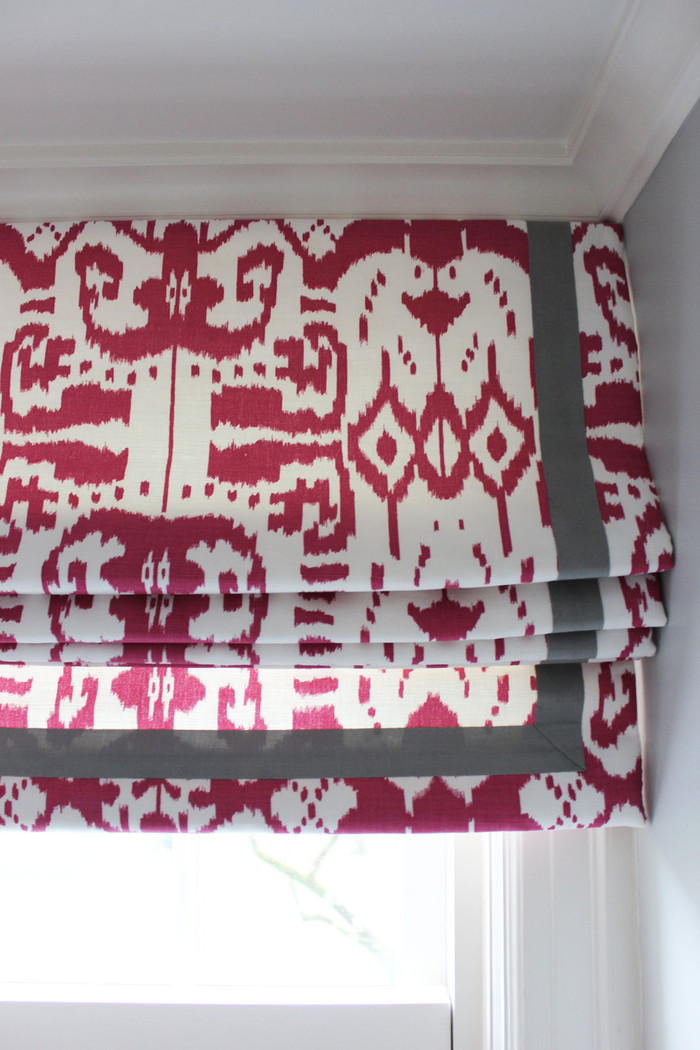 """Custom Roman Shades in Quadrille China Seas Island Ikat in Magenta with Samuel and Sons Steel 977-44932  1.5"""" Grosgrain Ribbon"""