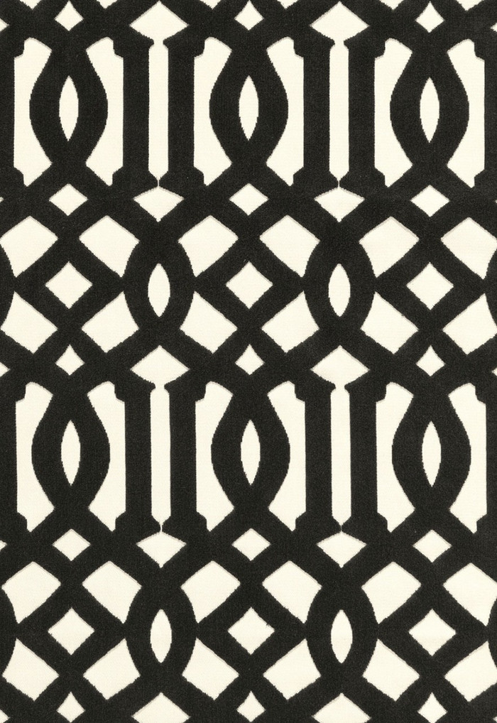 65593 Schumacher Kelly Wearstler Fabric Imperial Trellis Velvet Noir