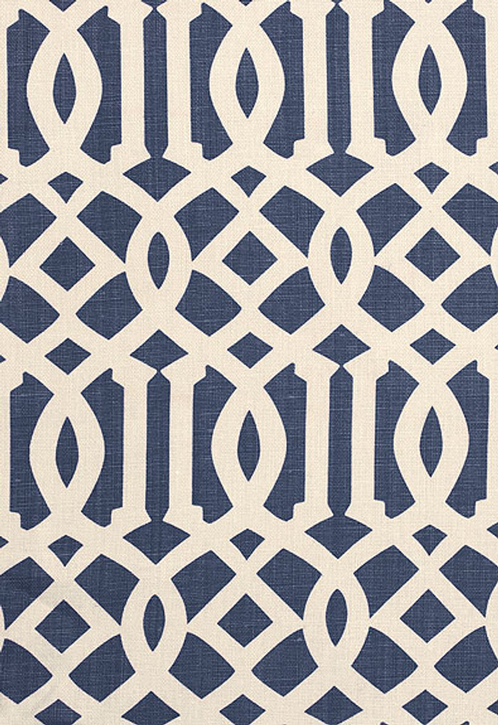 174411 Schumacher Kelly Wearstler Fabric Imperial Trellis II Navy