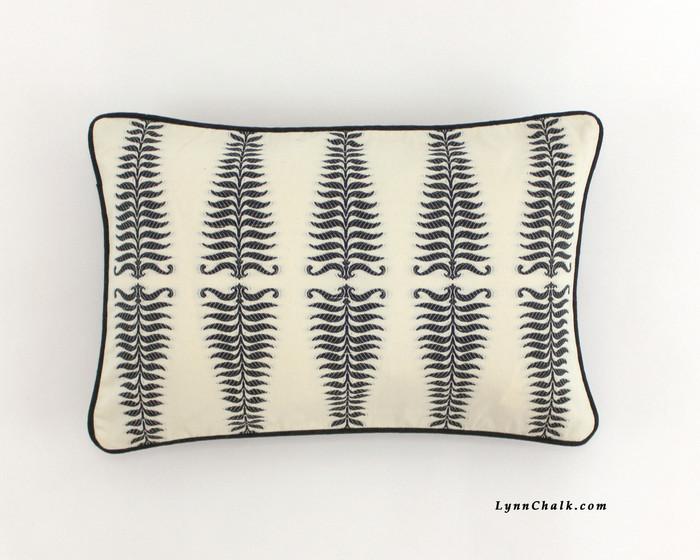 "Schumacher Fern Tree Lumbar Pillow in Noir Creme with Black Welting (Shown as 14"" X 22"")"