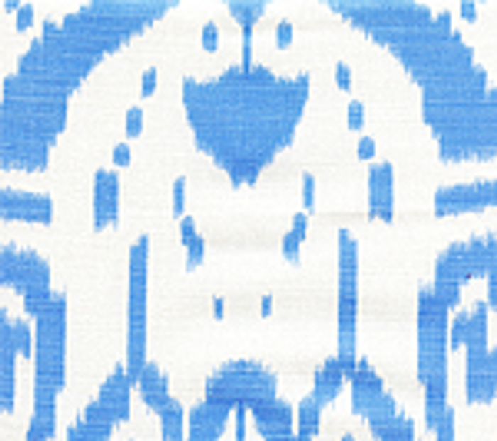 Quadrille China Seas Island Ikat Zibby Blue on White