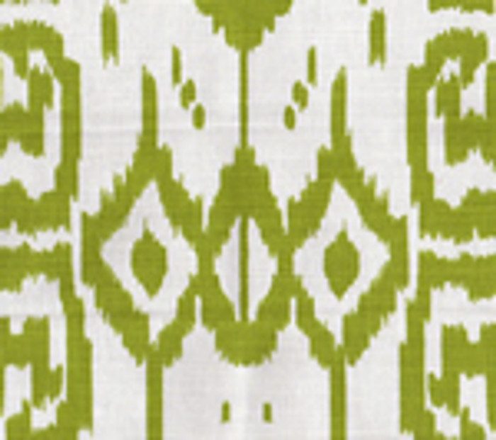 Quadrille China Seas Island Ikat Pistache on White