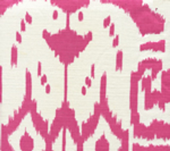 Quadrille China Seas Island Ikat Magenta on White