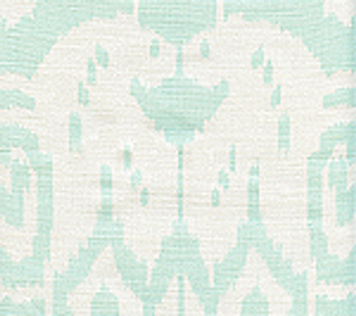 Quadrille China Seas Island Ikat Pale Aqua on White
