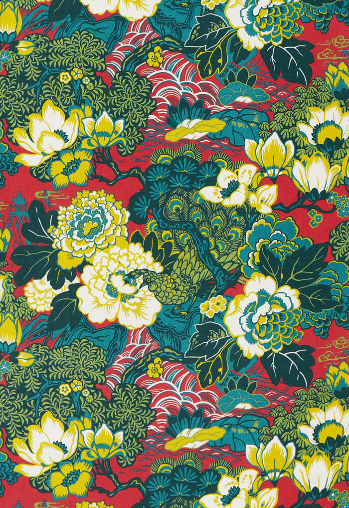 Schumacher Shanghai Peacock in Cerise