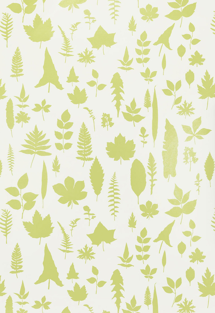 Schumacher Modern Nature Collection Leaves Wallpaper in Chartreuse