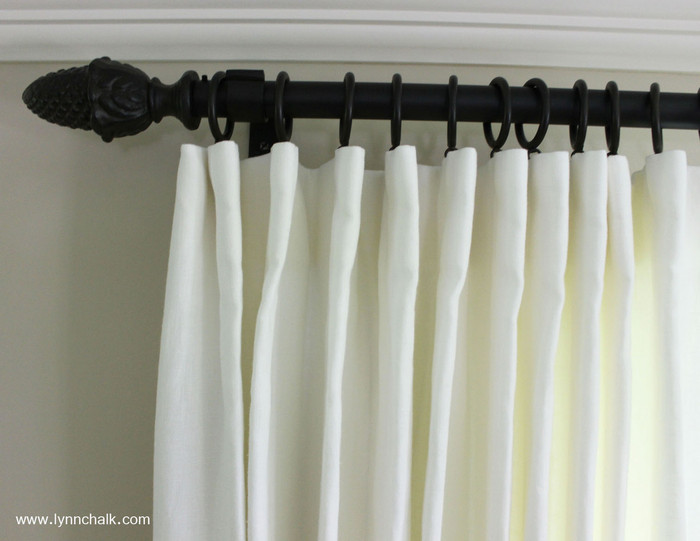 Custom Cartridge Style Pleated Drapes by Lynn Chalk in Kravet Dublin Linen in Bleach with Kravet Drapery Hardware in Bronze