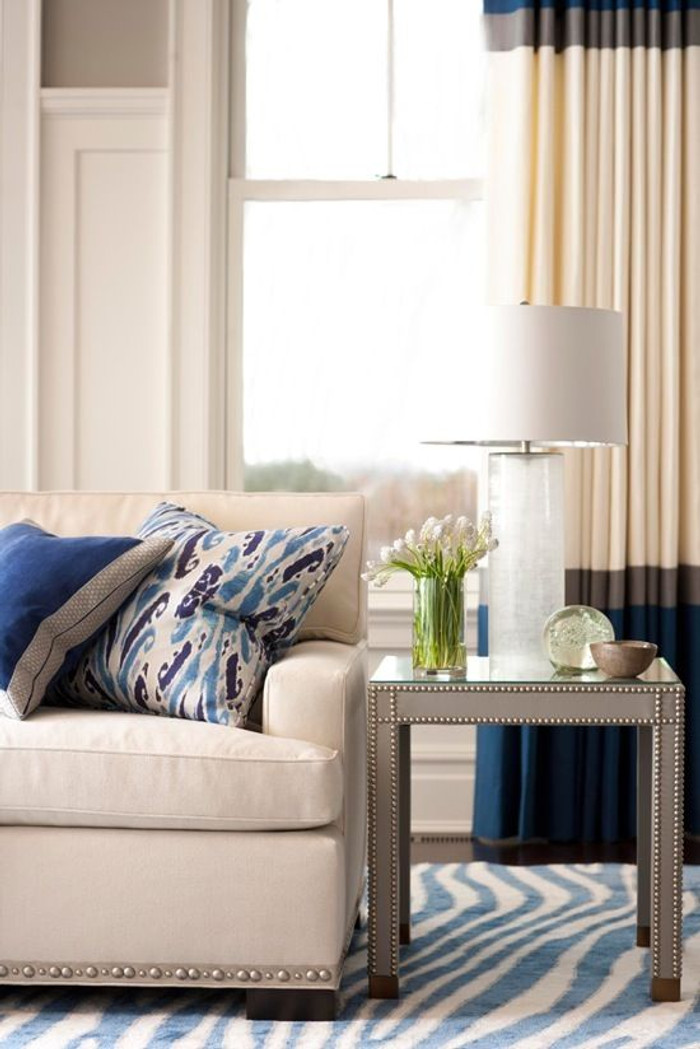 Beautiful Color Block Custom Pleated Drapes - Kravet Linen -Comes in Over 50 Beautiful Colors