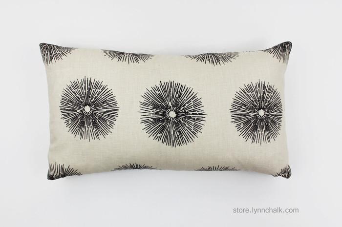 Kelly Wearstler Sea Urchin Custom Pillows in Ivory/Ebony 12 X 22 (Both Sides)
