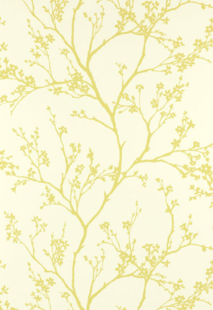 Schumacher Twiggy Wallpaper in Soft Chartreuse